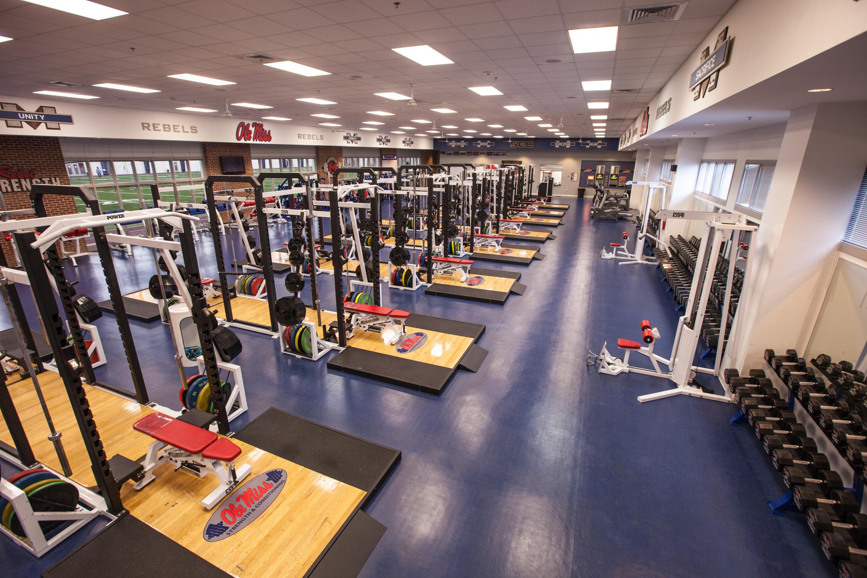 Arms race photos of top weight rooms in college football