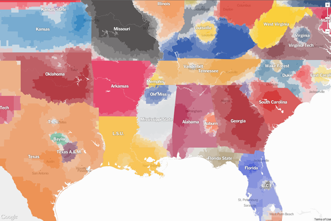 Popularity contest fan map by county in sec states screen shot 2014 10 03 at 95737 am sciox Gallery