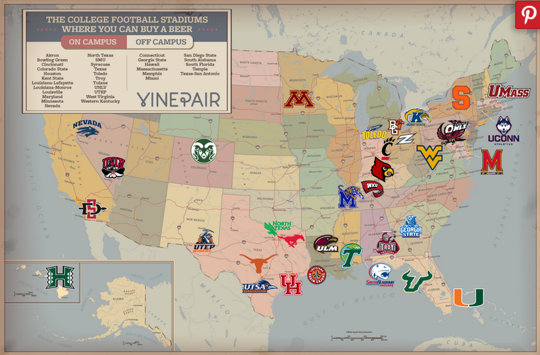 Beer Map Shows List Of College Stadiums Selling Alcohol - Map of all us colleges and universities