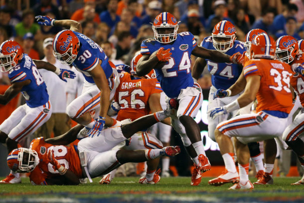 Apr 8, 2016; Gainesville, FL, USA; Florida Gators running back Mark Thompson (24) runs in the third quarter during the Orange and Blue game at Ben Hill Griffin Stadium. Blue won 38-6. Mandatory Credit: Logan Bowles-USA TODAY Sports