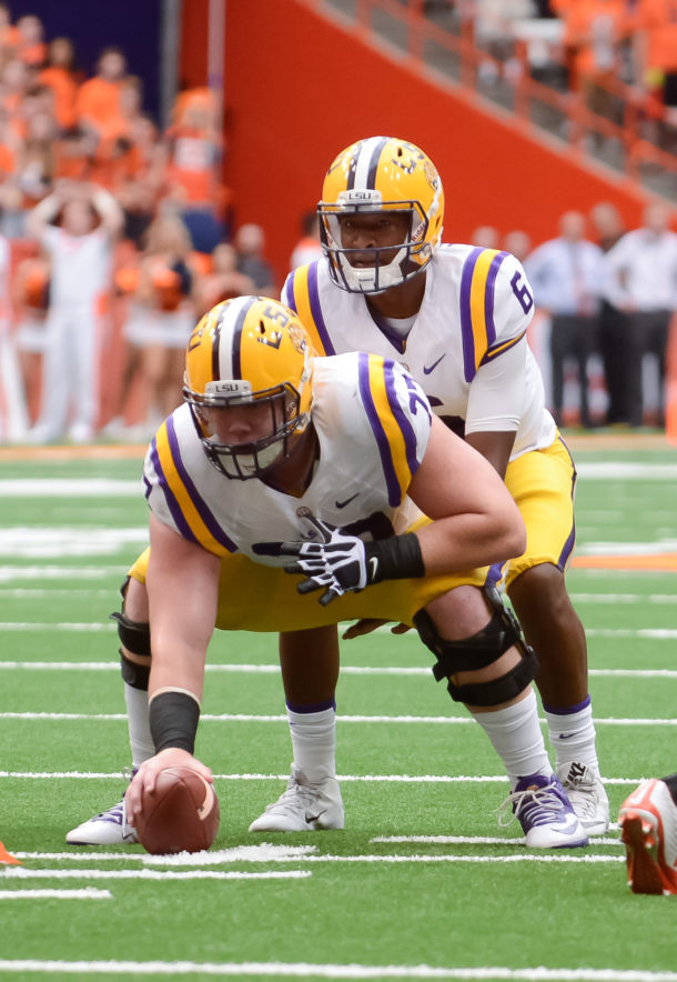 Sep 26, 2015; Syracuse, NY, USA; LSU Tigers quarterback Brandon Harris (6) under center Ethan Pocic (77) during the first quarter in a game against the Syracuse Orange at the Carrier Dome. Mandatory Credit: Mark Konezny-USA TODAY Sports