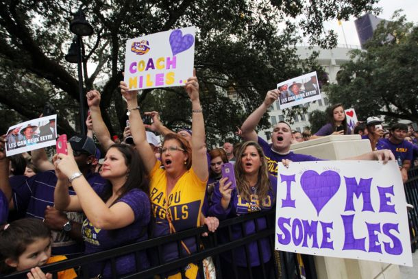 Nov 28, 2015; Baton Rouge, LA, USA; LSU Tigers fans show their support for LSU Tigers head coach Les Miles outside Tiger Stadium prior to kickoff against the Texas A&M Aggies. Mandatory Credit: Crystal LoGiudice-USA TODAY Sports