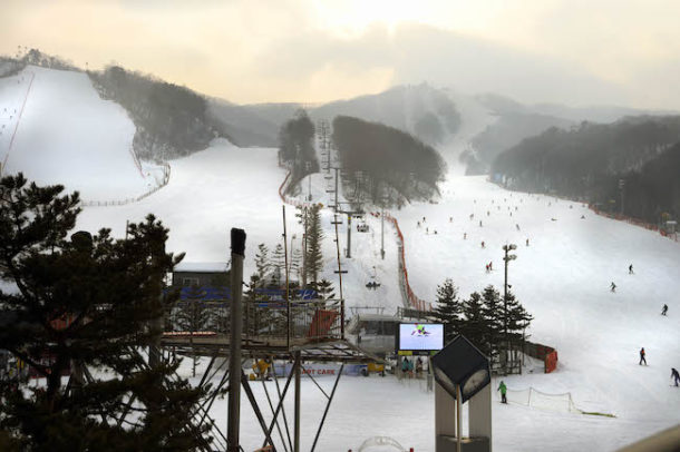Feb 10, 2015; PyeongChang, KOR; A view of the proposed site of the freestyle skiing and snowboard events in preparation for the PyeongChang 2018 Winter Olympic Games in South Korea. Credit: RVR Photos-USA TODAY Sports