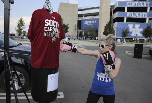 Sep 24, 2016; Lexington, KY, USA; Kim Campbell boxes outside of her tailgate before the game with the Kentucky Wildcats and the South Carolina Gamecocks at Commonwealth Stadium. Credit: Mark Zerof-USA TODAY Sports