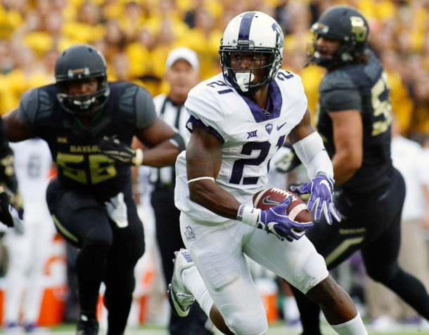 Nov 5, 2016; Waco, TX, USA; TCU Horned Frogs running back Kyle Hicks (21) carries the ball during a game against the Baylor Bears at McLane Stadium. TCU won 62-22. Mandatory Credit: Ray Carlin-USA TODAY Sports