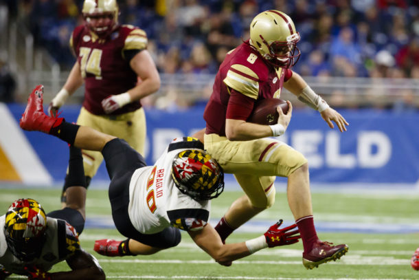 Dec 26, 2016; Detroit, MI, USA; Boston College Eagles quarterback Patrick Towles (8) rushes in the first half against the Maryland Terrapins at Ford Field. Mandatory Credit: Rick Osentoski-USA TODAY Sports