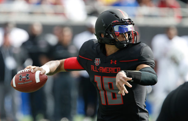 Jan 2, 2016; Orlando, FL, USA; Team Highlight player Jarrett Guarantano throws the ball in the Under Armour All American Football Game at the Orlando Citrus Bowl. Team Highlight beat Team Armour 27-0. Mandatory Credit: Reinhold Matay-USA TODAY Sports