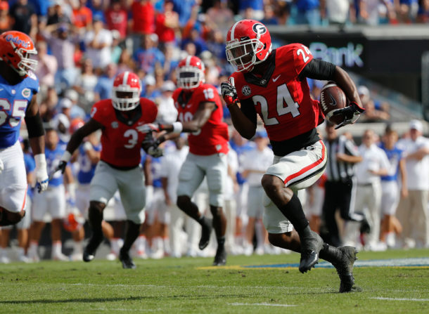Oct 29, 2016; Jacksonville, FL, USA; Georgia Bulldogs safety Dominick Sanders (24) intercepted the ball during the first quarter against the Florida Gators at EverBank Field. Mandatory Credit: Kim Klement-USA TODAY Sports