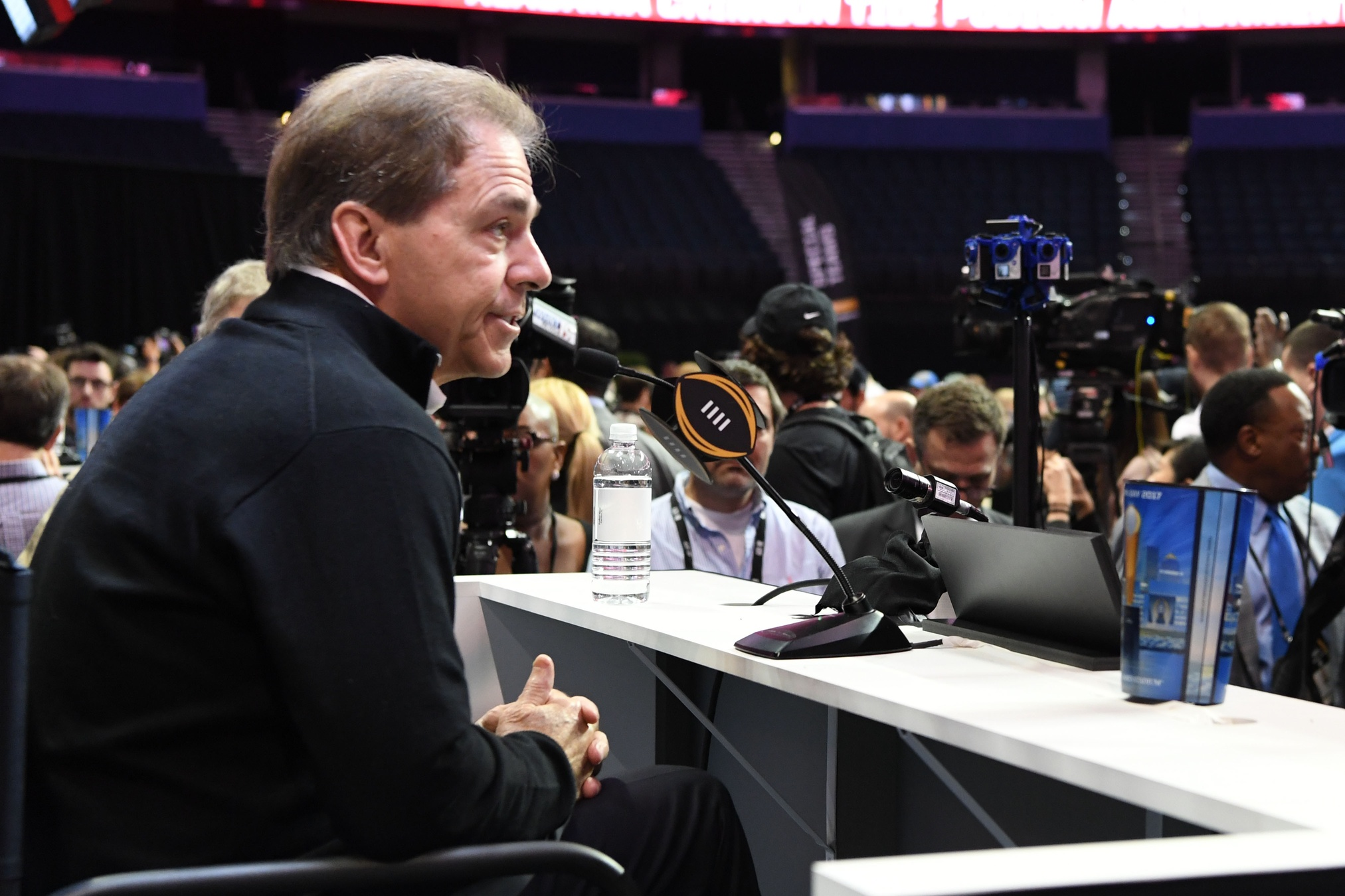 Jan 7, 2017; Tampa, FL, USA; Alabama Crimson Tide head coach Nick Saban during the Alabama Crimson Tide media day at Amalie Arena. Mandatory Credit: John David Mercer-USA TODAY Sports