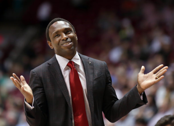 Mar 1, 2017; Tuscaloosa, AL, USA; Alabama Crimson Tide head coach Avery Johnson reacts to a call during the first half against Mississippi Rebels at Coleman Coliseum. Mandatory Credit: Marvin Gentry-USA TODAY Sports