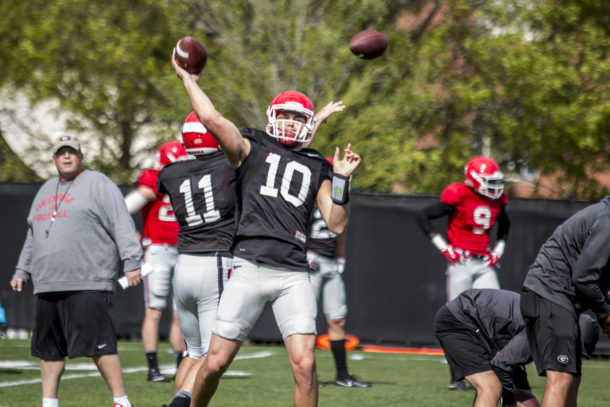 Georgia quarterback Jacob Eason (10) during the Bulldogs' spring practice at Butts-Mehre Heritage Hall in Athens, Ga. on Thursday, April 6, 2017. (Photo by John Paul Van Wert)