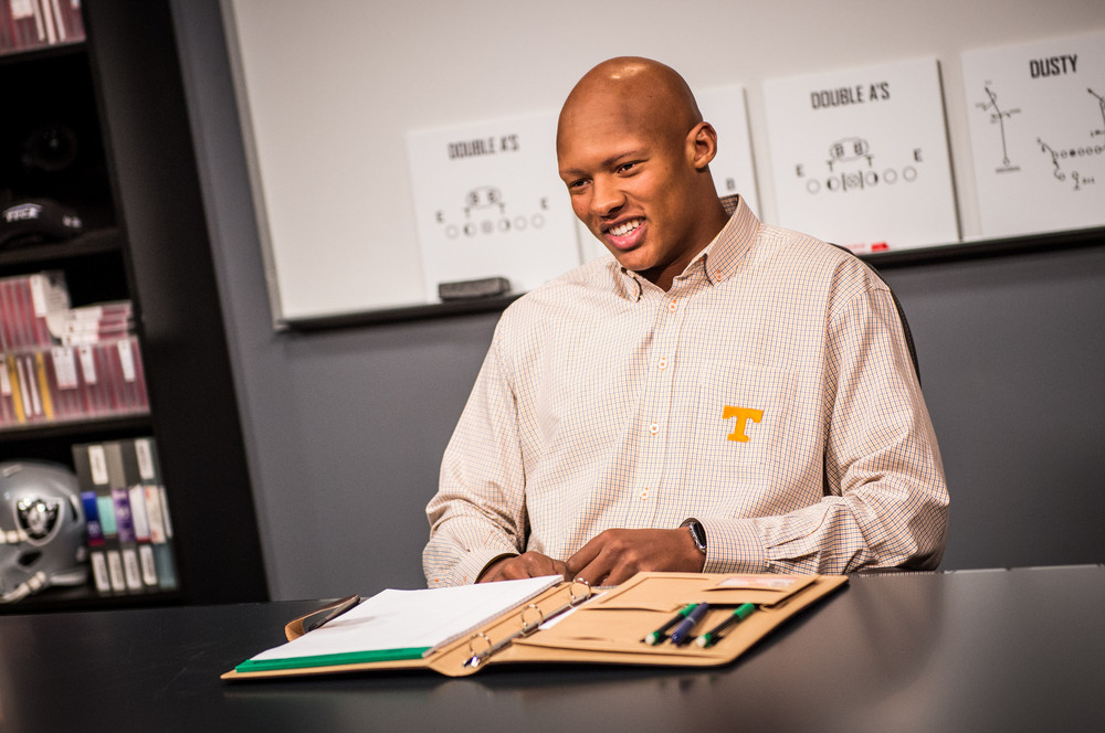 Bay Lake, FL - March 16, 2017 - Wide World of Sports: Josh Dobbs during the 2017 class at Gruden Camp (Photo by Heather Harvey / ESPN Images)