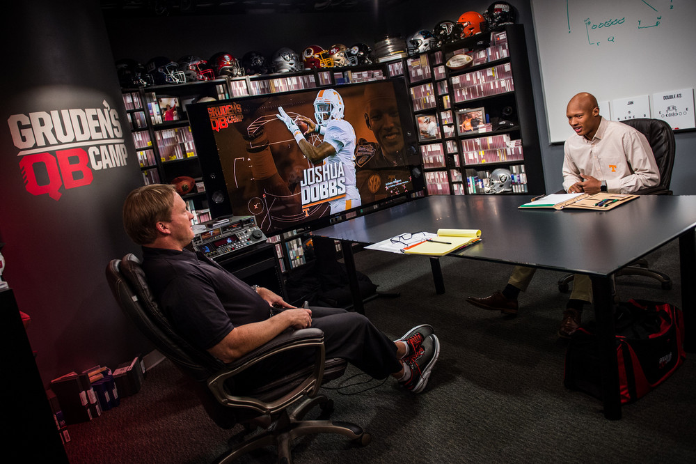 Bay Lake, FL - March 16, 2017 - Wide World of Sports: Jon Gruden and Josh Dobbs during the 2017 class at Gruden Camp (Photo by Heather Harvey / ESPN Images)