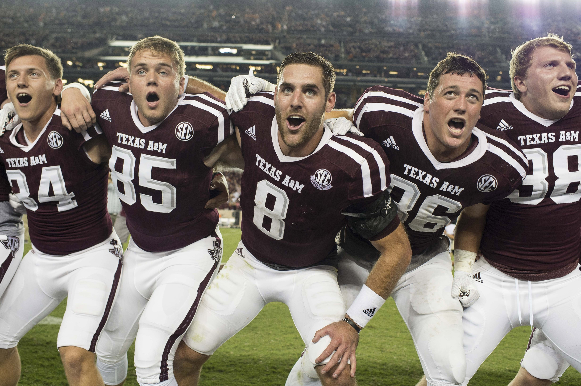 Oct 8, 2016; College Station, TX, USA; Texas A&M Aggies quarterback Trevor Knight (8) celebrates with his teammates after the win over the Tennessee Volunteers at Kyle Field. The Aggies defeated the Volunteers 45-38 in overtime. Mandatory Credit: Jerome Miron-USA TODAY Sports