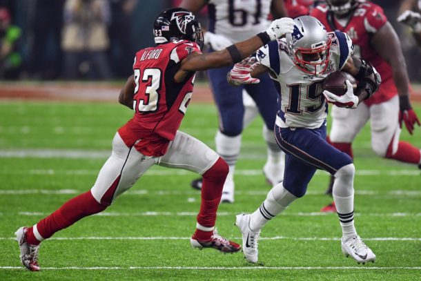 Feb 5, 2017; Houston, TX, USA; New England Patriots wide receiver Malcolm Mitchell (19) runs the ball as Atlanta Falcons cornerback Robert Alford (23) defends during the fourth quarter during Super Bowl LI at NRG Stadium. Mandatory Credit: Bob Donnan-USA TODAY Sports