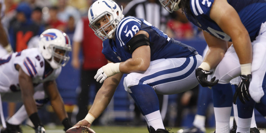 Aug 13, 2016; Orchard Park, NY, USA; Indianapolis Colts center Ryan Kelly (78) against the Buffalo Bills at Ralph Wilson Stadium. Mandatory Credit: Timothy T. Ludwig-USA TODAY Sports
