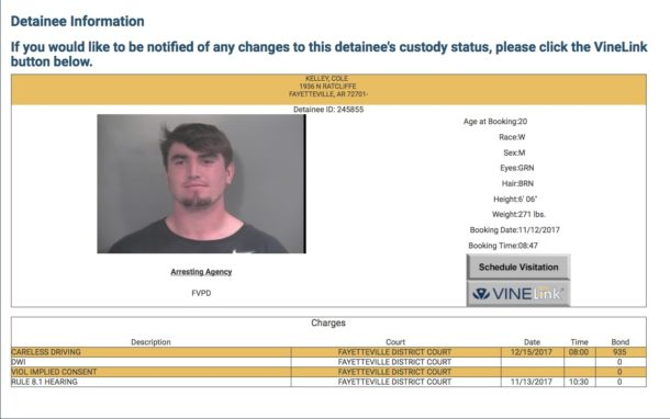 Arkansas quarterback Cole Kelley arrested for drunk driving
