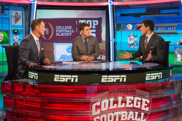 Bristol, CT - October 28, 2014 - Studio G: Danny Kanell, Rece Davis and David Pollack during the 2014 College Football Playoff Rankings Reveal (Photo by Rich Arden / ESPN Images)