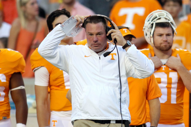 Sep 19, 2015; Knoxville, TN, USA; Tennessee Volunteers head coach Butch Jones during the first quarter against the Western Carolina Catamounts at Neyland Stadium. Mandatory Credit: Randy Sartin-USA TODAY Sports