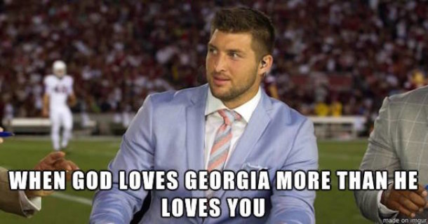 Tebow God loves UGA MEME