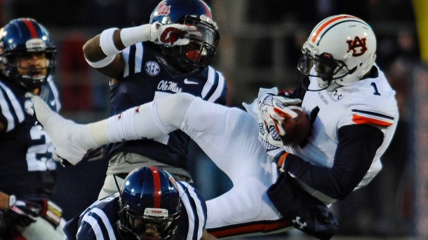 Nov 1, 2014; Oxford, MS, USA; Auburn Tigers wide receiver D'haquille Williams (1) catches a pass during the first quarter against the Ole Miss Rebels at Vaught-Hemingway Stadium. Mandatory Credit: Shanna Lockwood-USA TODAY Sports