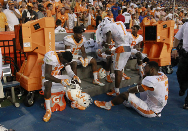 Sep 26, 2015; Gainesville, FL, USA; Tennessee Volunteers defensive back Micah Abernathy (3) and teammates react after they lost to the Florida Gators at Ben Hill Griffin Stadium. Florida Gators defeated the Tennessee Volunteers 28-27. Mandatory Credit: Kim Klement-USA TODAY Sports