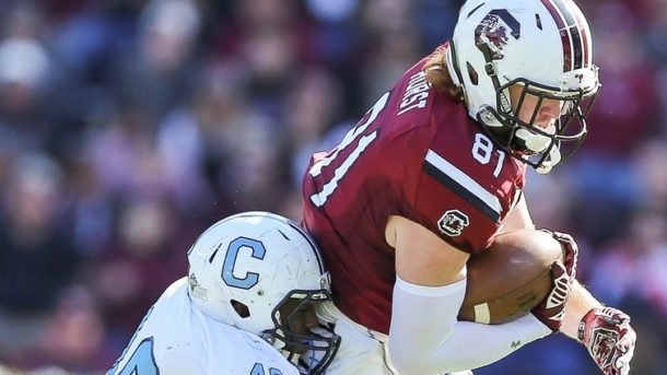 Nov 21, 2015; Columbia, SC, USA; South Carolina Gamecocks tight end Hayden Hurst (81) is tackled by Citadel Bulldogs linebacker James Riley (49) during at Williams-Brice Stadium. Mandatory Credit: Jim Dedmon-USA TODAY Sports