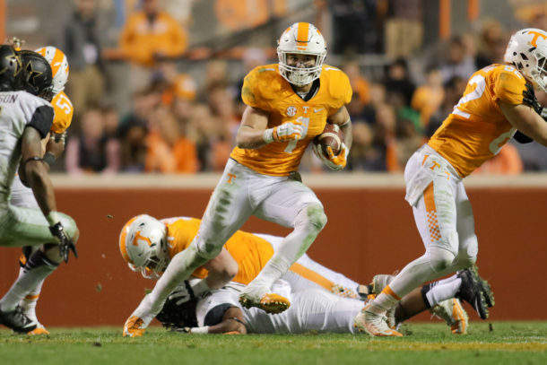 Nov 28, 2015; Knoxville, TN, USA; Tennessee Volunteers running back Jalen Hurd (1) runs the ball against the Vanderbilt Commodores during the second half at Neyland Stadium. Tennessee won 53-28. Mandatory Credit: Randy Sartin-USA TODAY Sports