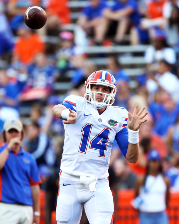 Apr 8, 2016; Gainesville, FL, USA; Florida Gators quarterback Luke Del Rio (14) warmups prior to the Orange and Blue game at Ben Hill Griffin Stadium. Mandatory Credit: Logan Bowles-USA TODAY Sports