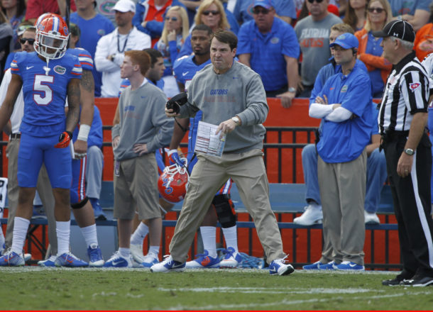 Nov 15, 2014; Gainesville, FL, USA; Florida Gators head coach Will Muschamp reacts after they were called for a pass interference penalty during the second half against the South Carolina Gamecocks at Ben Hill Griffin Stadium. South Carolina Gamecocks defeated the Florida Gators 23-20 in overtime. Mandatory Credit: Kim Klement-USA TODAY Sports