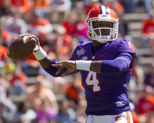 Apr 9, 2016; Clemson, SC, USA; Clemson Tigers Clemson Tigers quarterback Deshaun Watson (4) looks to pass the ball during the first quarter of the spring game at Clemson Memorial Stadium. Mandatory Credit: Joshua S. Kelly-USA TODAY Sports