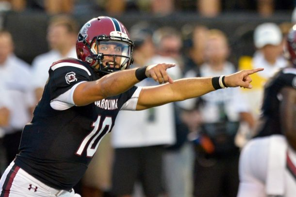 Sep 1, 2016; Nashville, TN, USA; South Carolina Gamecocks quarterback Perry Orth (10) signals to his team against the Vanderbilt Commodores during the first half at Vanderbilt Stadium. Mandatory Credit: Jim Brown-USA TODAY Sports