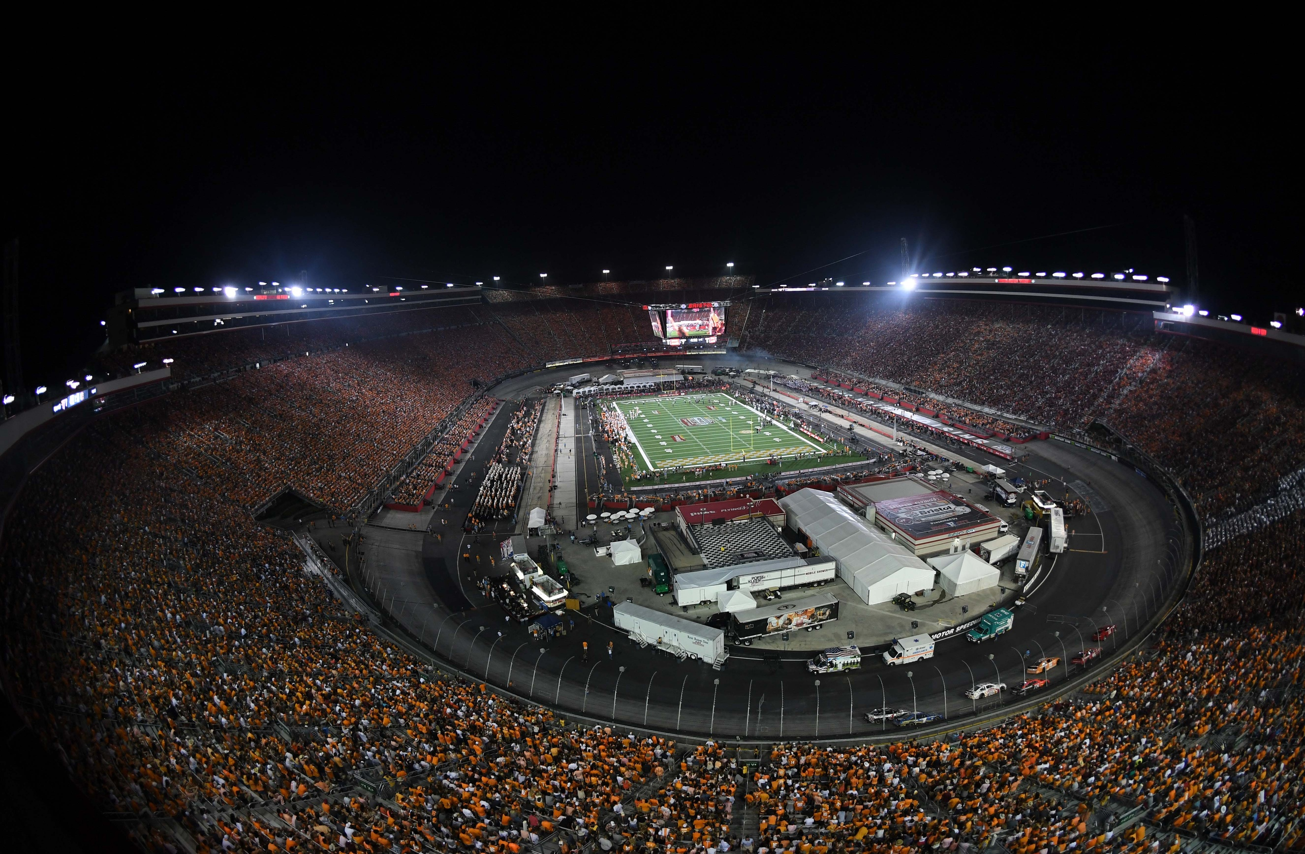 Sep 10, 2016; Bristol, TN, USA; General view of Bristol Motor Speedway during the first quarter of the Battle at Bristol college football game between the Virginia Tech Hokies and Tennessee Volunteers. Mandatory Credit: Christopher Hanewinckel-USA TODAY Sports