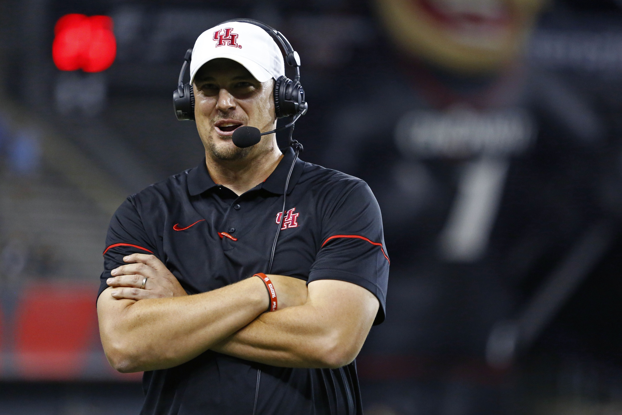 Sep 15, 2016; Cincinnati, OH, USA; Houston Cougars head coach Tom Herman answers questions during a post game interview after defeating the Cincinnati Bearcats at Nippert Stadium. Houston won 40-16. Mandatory Credit: Aaron Doster-USA TODAY Sports