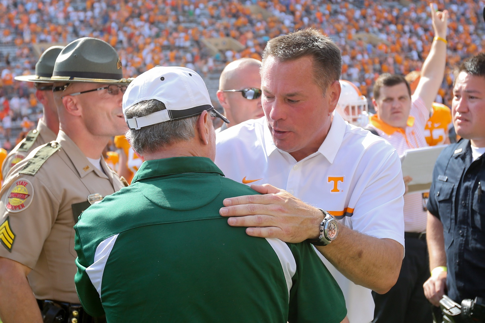 Sep 17, 2016; Knoxville, TN, USA; Tennessee Volunteers head coach Butch Jones and Ohio Bobcats head coach Frank Solich meet after the game at Neyland Stadium. Tennessee won 28-19. Mandatory Credit: Randy Sartin-USA TODAY Sports