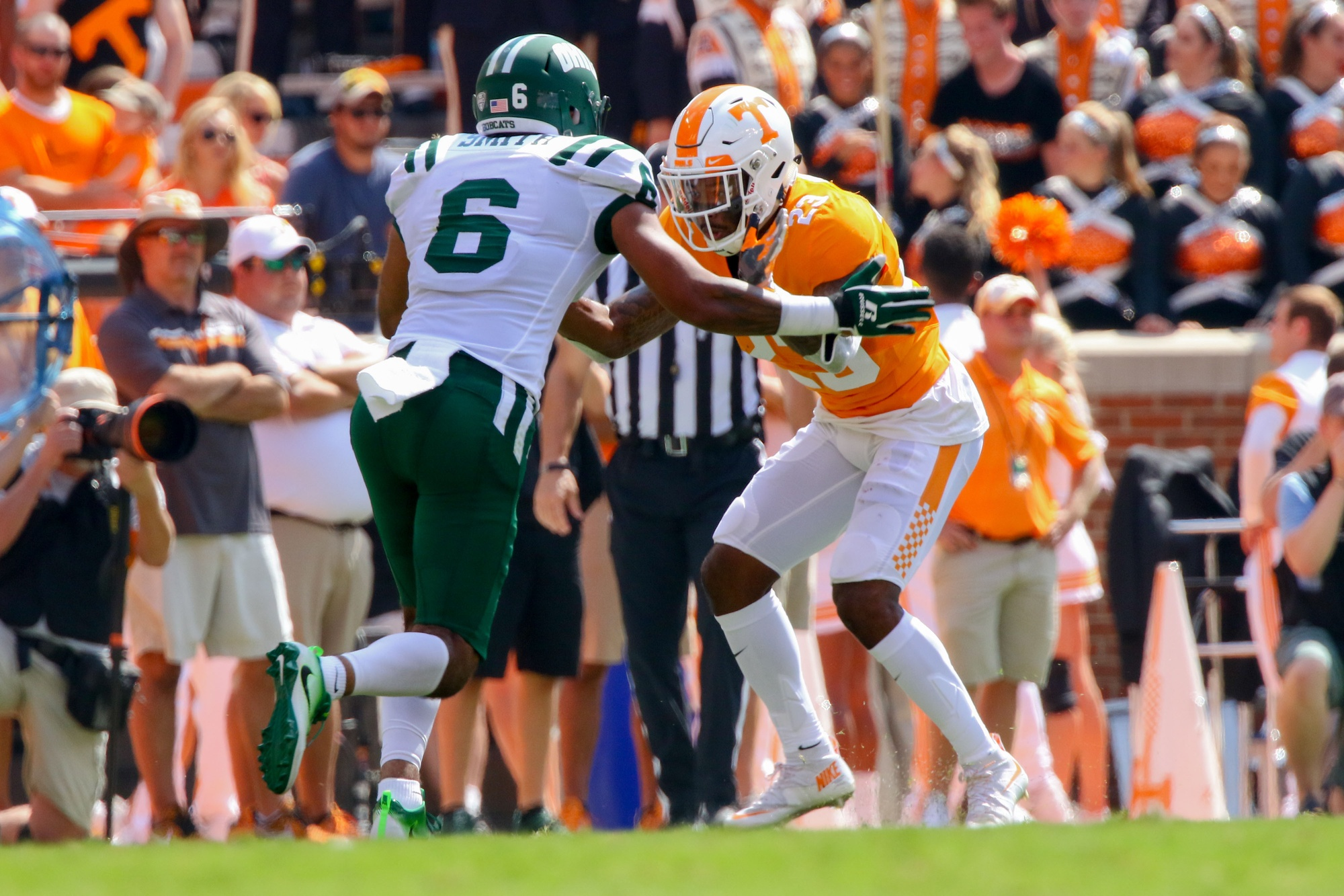 Sep 17, 2016; Knoxville, TN, USA; Ohio Bobcats wide receiver Sebastian Smith (6) and Tennessee Volunteers defensive back Cameron Sutton (23) during the first quarter at Neyland Stadium. Mandatory Credit: Randy Sartin-USA TODAY Sports