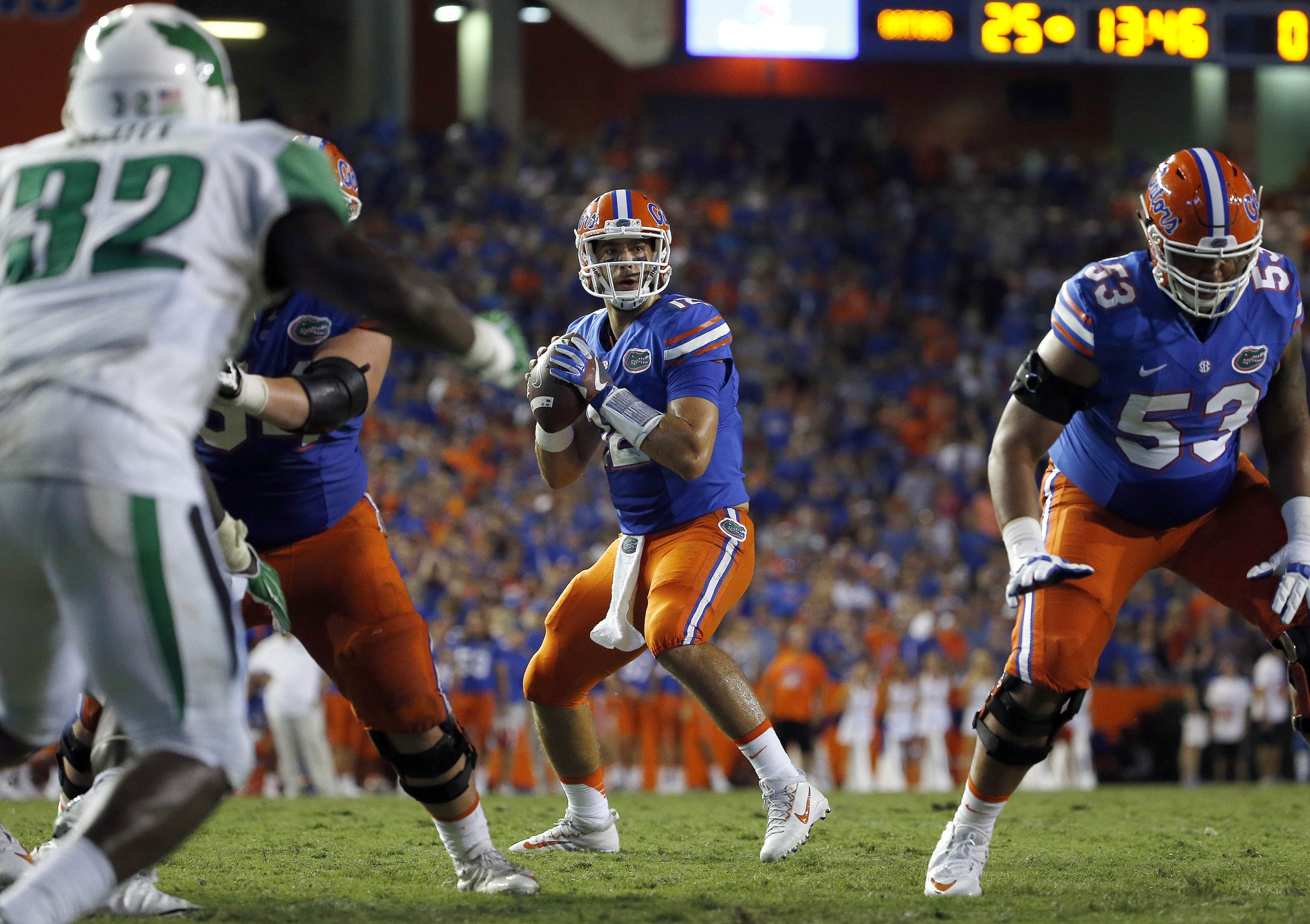 Sep 17, 2016; Gainesville, FL, USA; Florida Gators quarterback Austin Appleby (12) prepares to throw the ball against the North Texas Mean Green during the second half at Ben Hill Griffin Stadium. Florida Gators defeated the North Texas Mean Green 32-0. Mandatory Credit: Kim Klement-USA TODAY Sports