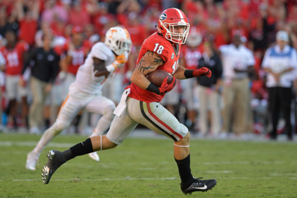 Oct 1, 2016; Athens, GA, USA; Georgia Bulldogs tight end Isaac Nauta (18) runs for a touchdown after catching a pass against the Tennessee Volunteers during the second half at Sanford Stadium. Tennessee defeated Georgia 34-31. Mandatory Credit: Dale Zanine-USA TODAY Sports