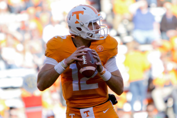 Nov 14, 2015; Knoxville, TN, USA; Tennessee Volunteers quarterback Quinten Dormady (12) drops back to pass against the North Texas Mean Green during the second half at Neyland Stadium. Tennessee won 24 to 0. Mandatory Credit: Randy Sartin-USA TODAY Sports
