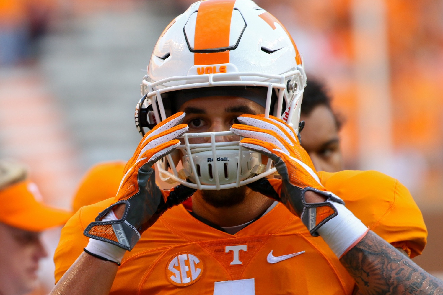 Sep 1, 2016; Knoxville, TN, USA; Tennessee Volunteers running back Jalen Hurd (1) before the game against the Appalachian State Mountaineers at Neyland Stadium. Mandatory Credit: Randy Sartin-USA TODAY Sports