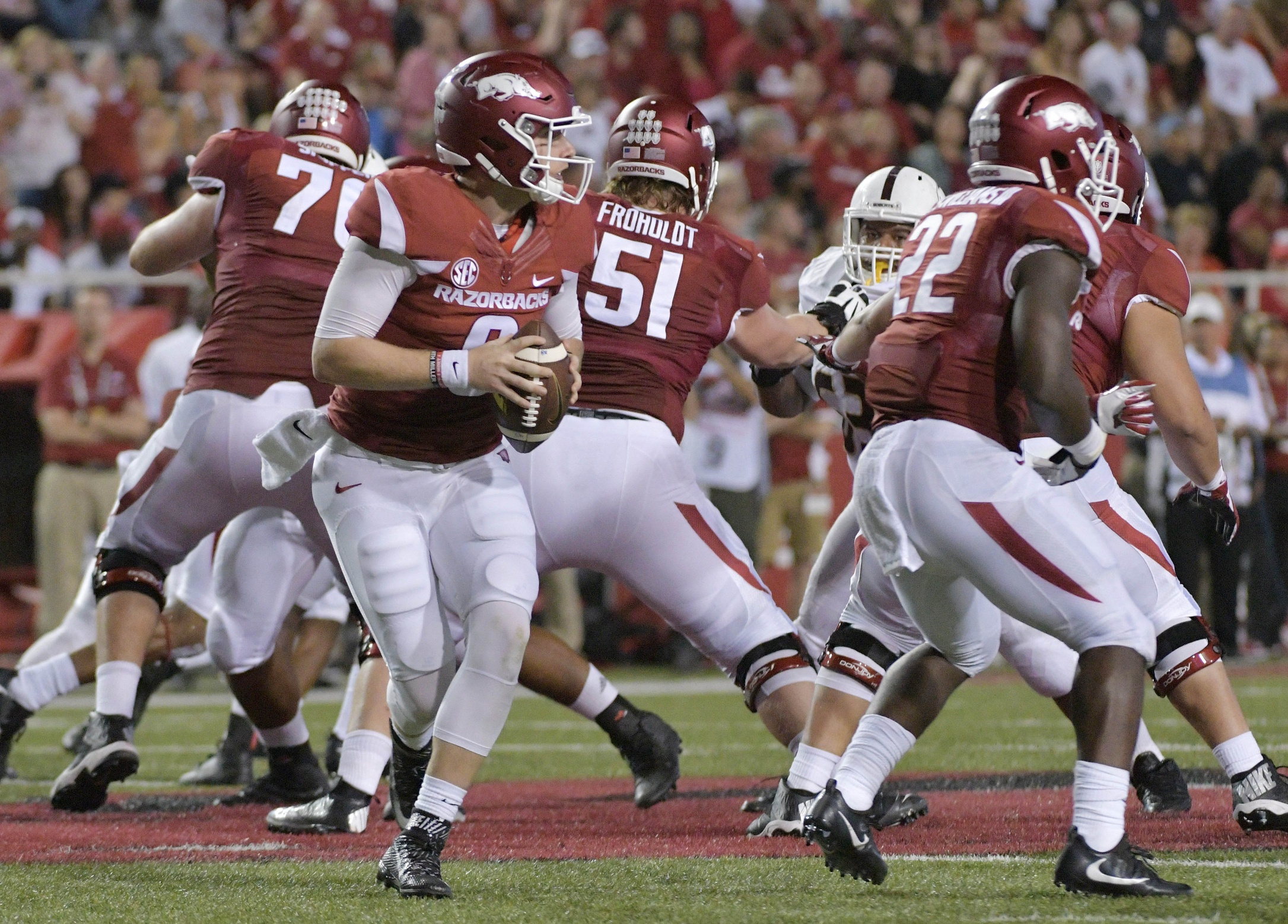 Sep 17, 2016; Fayetteville, AR, USA; Arkansas Razorbacks quarterback Austin Allen (8) prepares to throw the ball during the first half against the Texas State Bobcats at Donald W. Reynolds Razorback Stadium. Mandatory Credit: Denny Medley-USA TODAY Sports