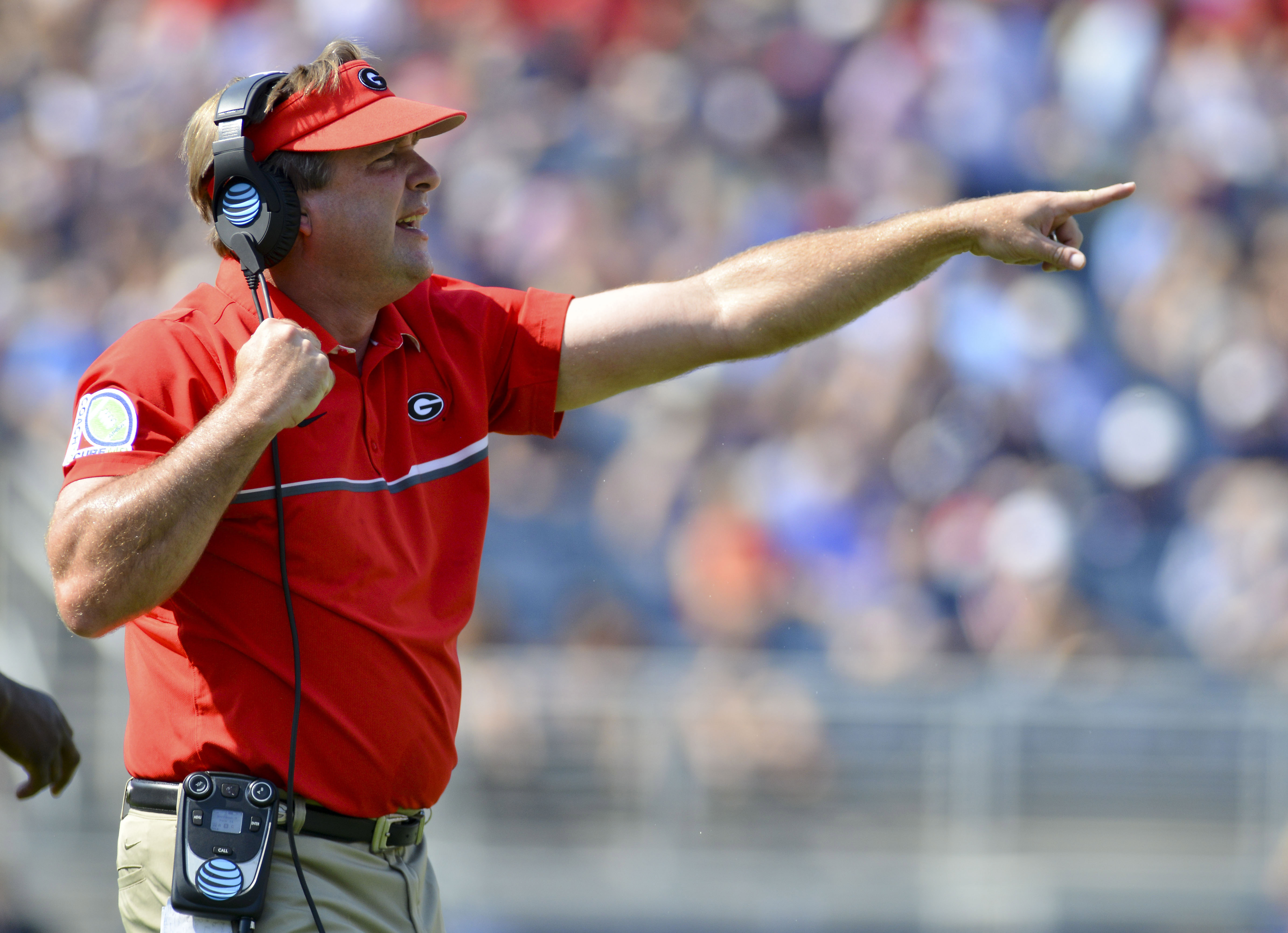 Sep 24, 2016; Oxford, MS, USA: Georgia Bulldogs head coach Kirby Smart yells during the first quarter of the game against the Mississippi Rebels at Vaught-Hemingway Stadium. Mississippi won 45-14. Mandatory Credit: Matt Bush-USA TODAY Sports.