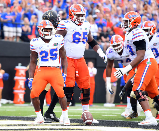 Oct 1, 2016; Nashville, TN, USA; Florida Gators running back Jordan Scarlett (25) celebrates after a touchdown during the first half against the Vanderbilt Commodores at Vanderbilt Stadium. Mandatory Credit: Christopher Hanewinckel-USA TODAY Sports