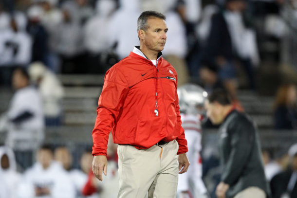 Oct 22, 2016; University Park, PA, USA; Ohio State Buckeyes head coach Urban Meyer walks on the field during a warmup prior to the game against the Penn State Nittany Lions at Beaver Stadium. Penn State defeated Ohio State 24-21. Mandatory Credit: Matthew O'Haren-USA TODAY Sports