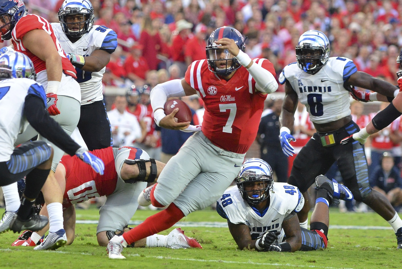 Oct 1, 2016; Oxford, MS, USA; Mississippi Rebels quarterback Jason Pellerin (7) runs the ball during the first quarter of the game against the Memphis Tigers at Vaught-Hemingway Stadium. Mandatory Credit: Matt Bush-USA TODAY Sports