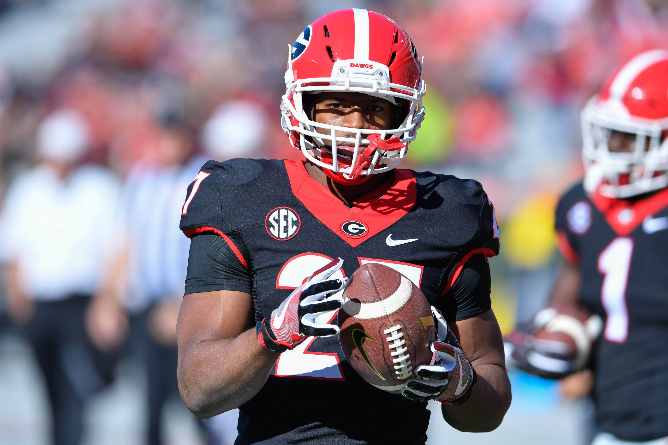 Nov 19, 2016; Athens, GA, USA; Georgia Bulldogs running back Nick Chubb (27) shown on the field before the game against the Louisiana-Lafayette Ragin Cajuns at Sanford Stadium. Mandatory Credit: Dale Zanine-USA TODAY Sports