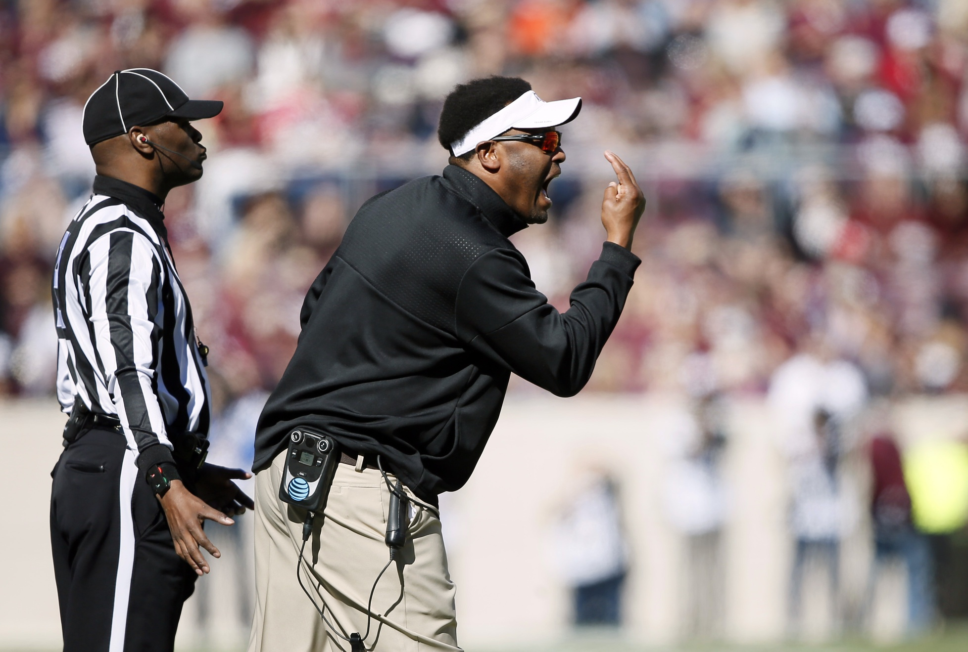 Nov 19, 2016; College Station, TX, USA; Texas A&M Aggies head coach Kevin Sumlin on the sidelines against the University of Texas at San Antonio Roadrunners at Kyle Field. Mandatory Credit: Erich Schlegel-USA TODAY Sports