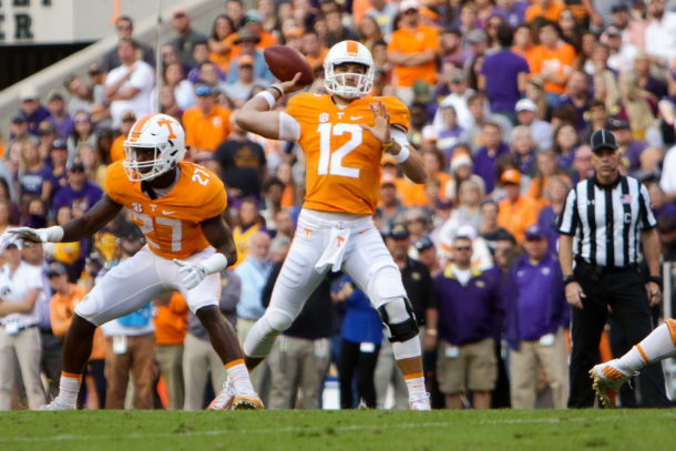 Nov 5, 2016; Knoxville, TN, USA; Tennessee Volunteers quarterback Quinten Dormady (12) throws a pass during the second quarter against the Tennessee Tech Golden Eagles at Neyland Stadium. Mandatory Credit: Randy Sartin-USA TODAY Sports