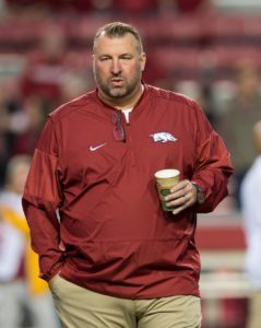 Nov 12, 2016; Fayetteville, AR, USA; Arkansas Razorbacks head coach Bret Bielema watches his players warmup before the game against the LSU Tigers at Donald W. Reynolds Razorback Stadium. Mandatory Credit: Brett Rojo-USA TODAY Sports