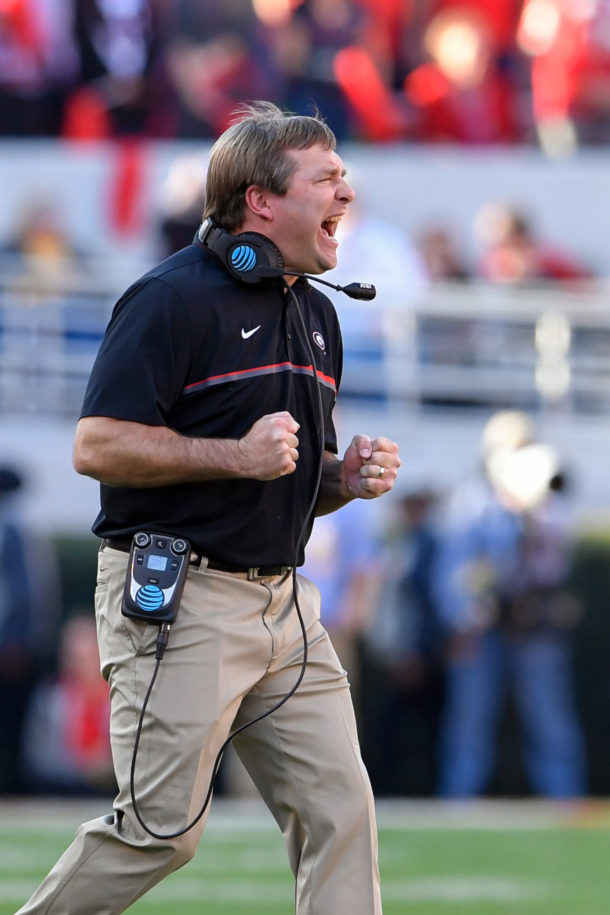 Nov 26, 2016; Athens, GA, USA; Georgia Bulldogs head coach Kirby Smart reacts to the play against the Georgia Tech Yellow Jackets during the second half at Sanford Stadium. Georgia Tech defeated Georgia 28-27. Mandatory Credit: Dale Zanine-USA TODAY Sports